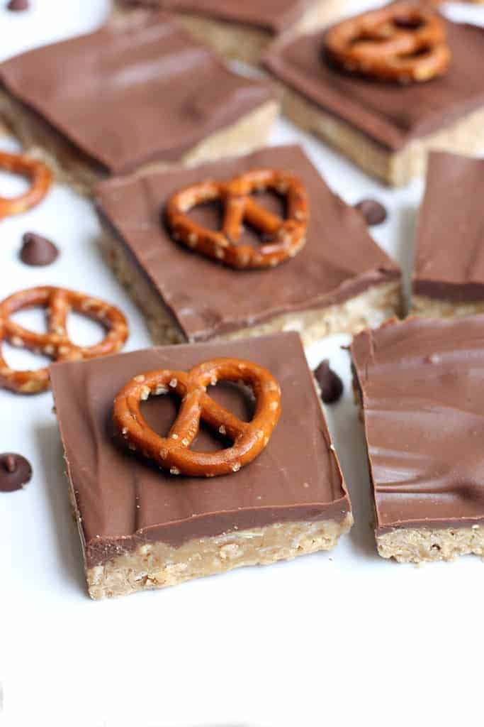No Bake Peanut Butter Pretzel Bars on TastesBetterFromScratch.com