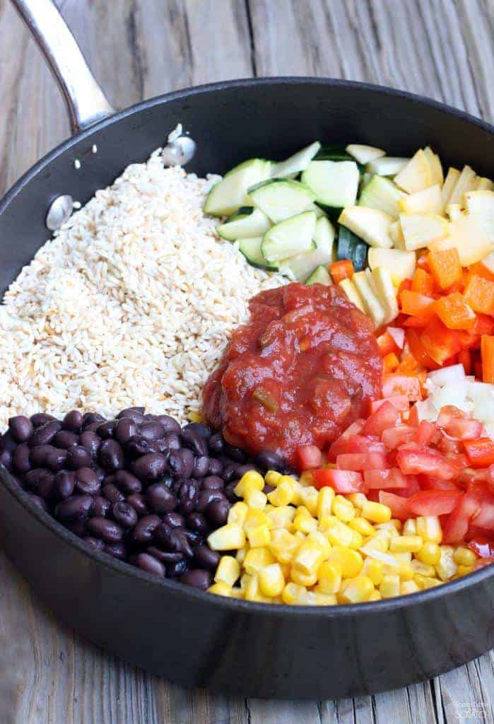 One Pan Veggie Burrito Bowl from TastesBetterFromScratch.com