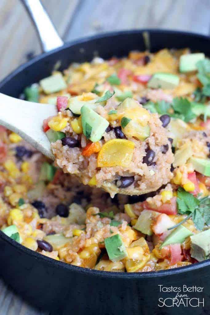 One Pan Veggie Burrito Bowl from TastesBetterFromScratch.com