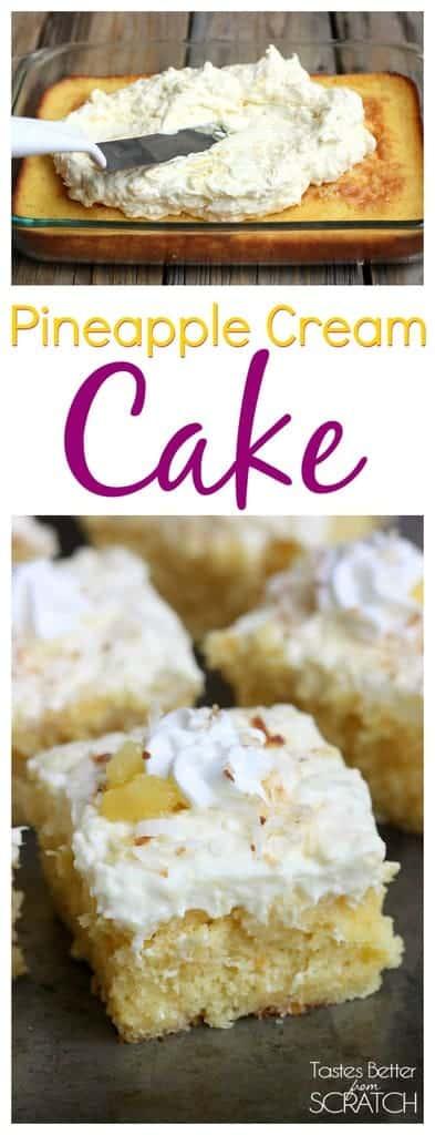 Pineapple Cream Cake on TastesBetterFromScratch.com