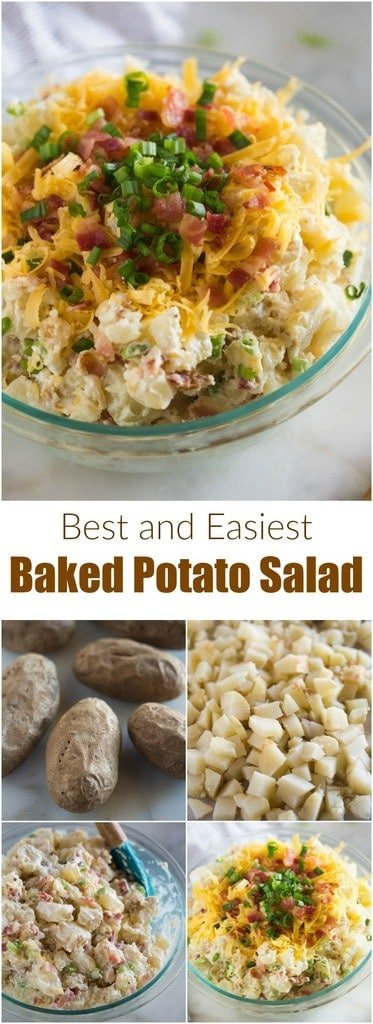This easy Baked Potato Salad is a guaranteed pot-luck FAVORITE! It's a fun change from a regular potato salad, and instead includes the toppings and flavors you love from a loaded baked potato, including bacon, onions, sour cream and cheese. #potatosalad #sides #foracrowd #loaded #recipe #easy #best #bacon #cheese #baked #sourcream
