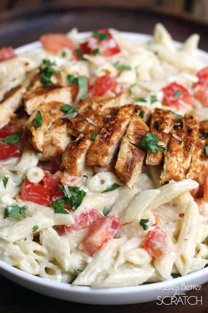 Chili Lime Chicken with Creamy Garlic Penne Pasta from TastesBetterFromScratch.com