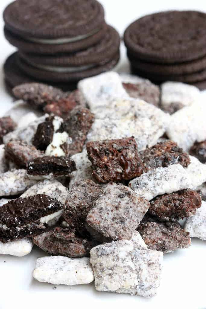Cookies and Cream Muddy Buddies on TastesBetterFromScratch.com
