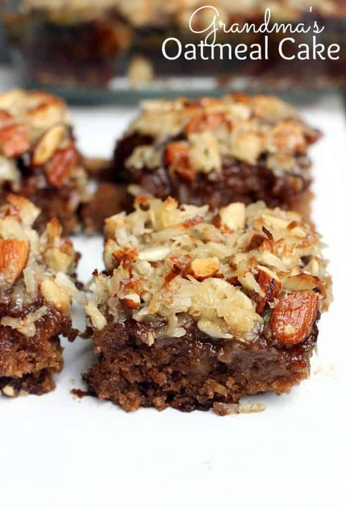 Grandma's Oatmeal Cake recipe from TastesBetterFromScratch.com