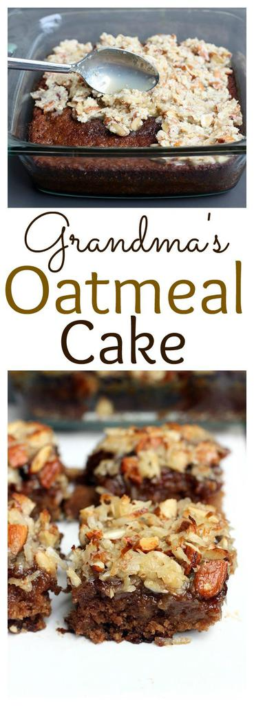 Grandma's Oatmeal Cake is made with rolled oats and topped with a mixture of shredded coconut and slivered almonds. | tastesbetterfromscratch.com