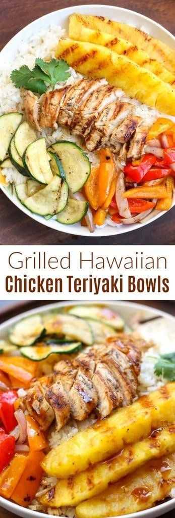 Grilled Hawaiian Chicken Teriyaki Bowls with coconut rice, zucchini squash, bell peppers, onions, and pineapple topped with a delicious and easy homemade teriyaki sauce! | tastesbetterfromscratch.com  #coconutrice #healthy #easy #pineapple