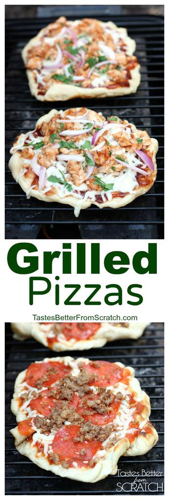 This Grilled Pizzas recipe and tutorialis for homemade pizzas (including homemade pizza crust) that are cooked on the grill!  tastesbetterfromscratch.com  #dough #easy #recipe #homemade