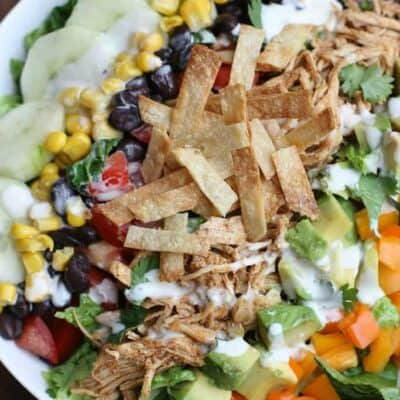 Shredded Chicken Taco Salad with Chipotle Ranch Crema