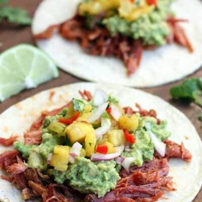 Shredded Pork Tacos with Chunky Guacamole and Grilled Pineapple Salsa