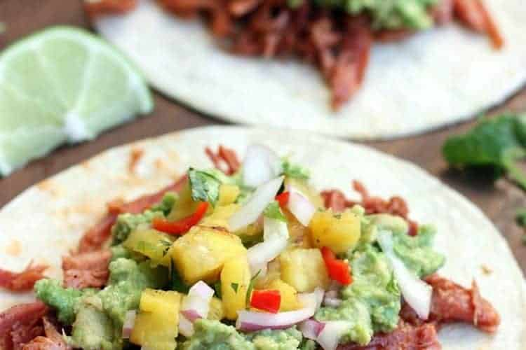 Shredded Pork Tacos with Chunky Guacamole and Grilled Pineapple Salsa from TastesBetterFromScratch.com