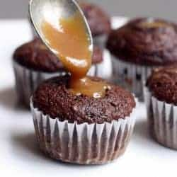 Caramel Filled Chocolate Cupcakes from TastesBetterFromScratch.com