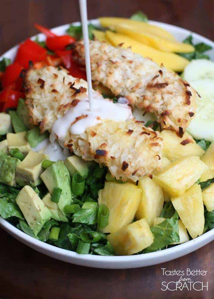 Coconut Chicken Tropical Salad from TastesBetterFromScratch.com