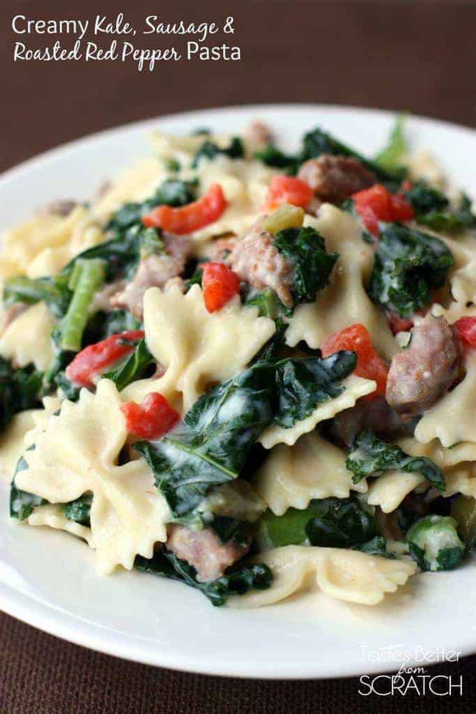Roasted peppers and sausage pasta recipe