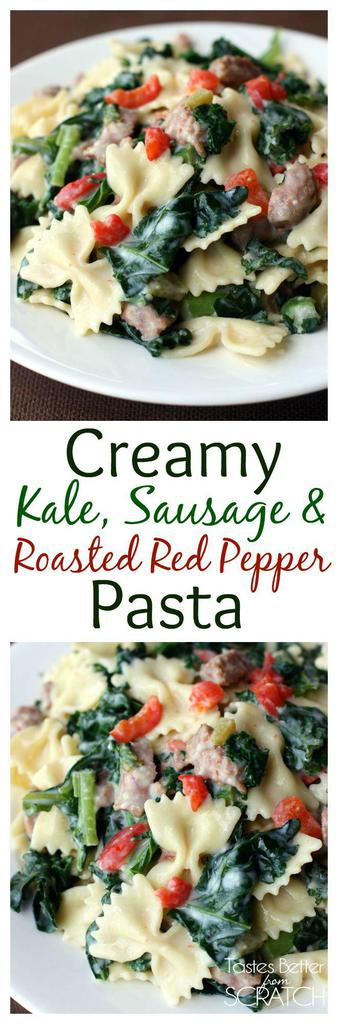 This Creamy Kale, Sausage & Roasted Red Pepper Pasta is a delicious creamy pasta dish and is my kids favorite dish that includes kale! | tastesbetterfromscratch.com