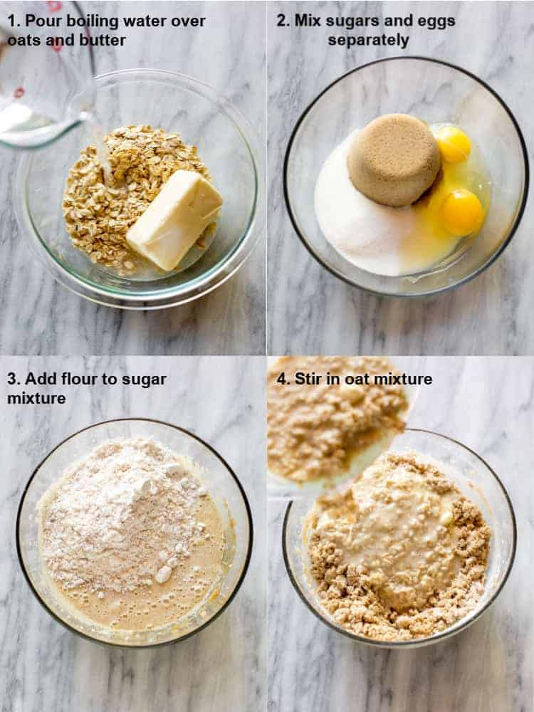 Four process photos with text on them for making oatmeal cake. A mixing bowl the oatmeal, butter and boiling water, another bowl with sugars and egg, flour added to the bowl and then the oatmeal mixture added.