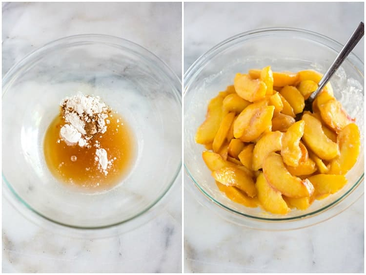 A bowl with peach juice, flour, vanilla and lemon juice next to another photo of peaches added to the bowl and the mixture stirred together.