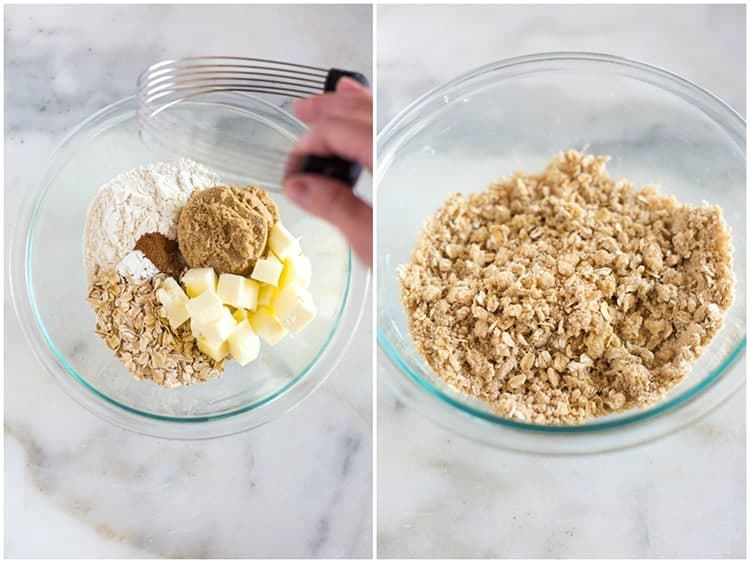 The ingredients for a crumb topping, including oats, brown sugar, cubed butter and flour in a glass bowl, next to another photo of the crumb topping after it has been mixed together.