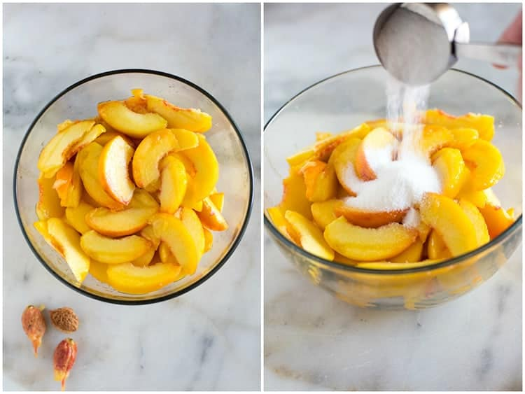 Fresh sliced peaches in a clear glass bowl, next to another photo of the same bowl of peaches with granulated sugar being poured over them from a measuring cup.