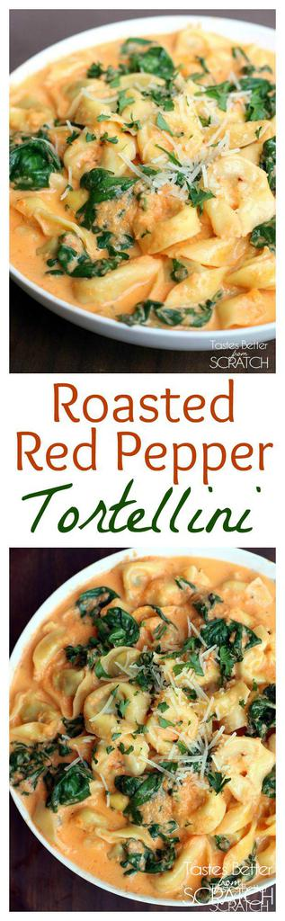 Tortellini in a delicious, creamy, homemade roasted red pepper sauce. Recipe on tastesbetterfromscratch.com