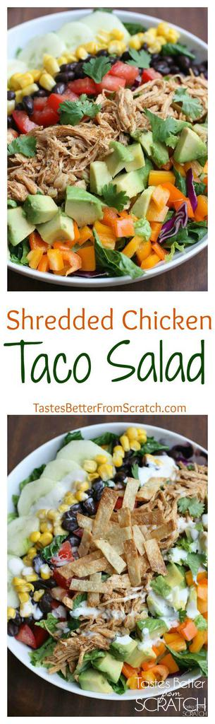 The best taco salad--loaded with fresh veggies, topped with delicious slow cooker shredded chicken and a chipotle ranch crema. Recipe on tastesbetterfromscratch.com