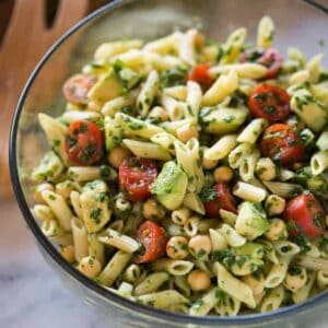 Spinach Avocado Pasta Salad | tastesbetterfromscratch.com