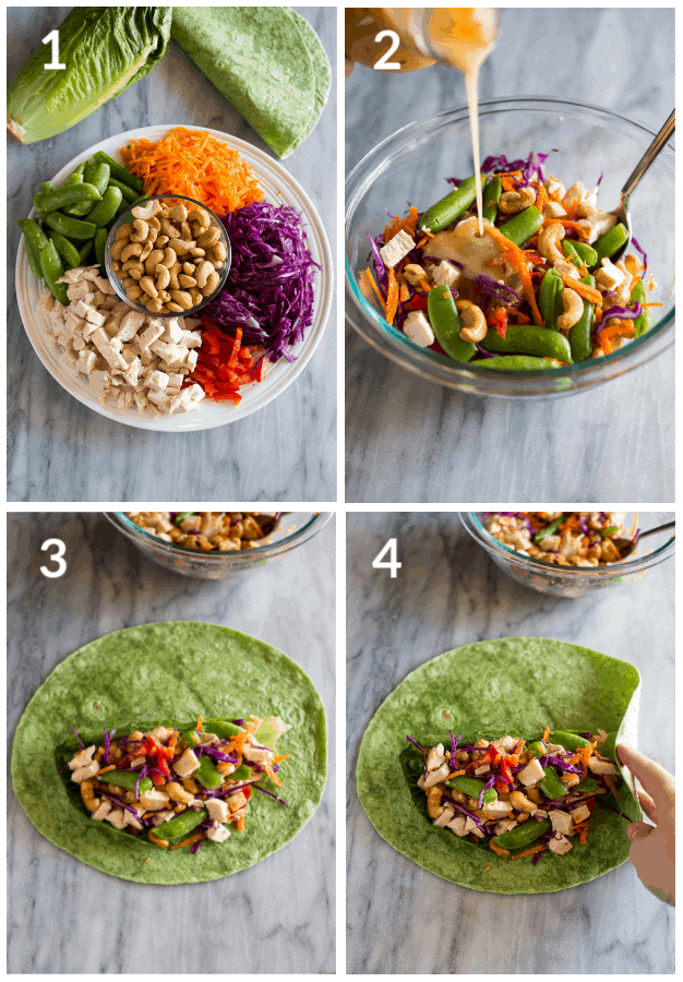 Process photos for how to make cashew chicken wraps including the ingredients ready on a plate, the filling tossed in a bowl, and how to roll the wraps