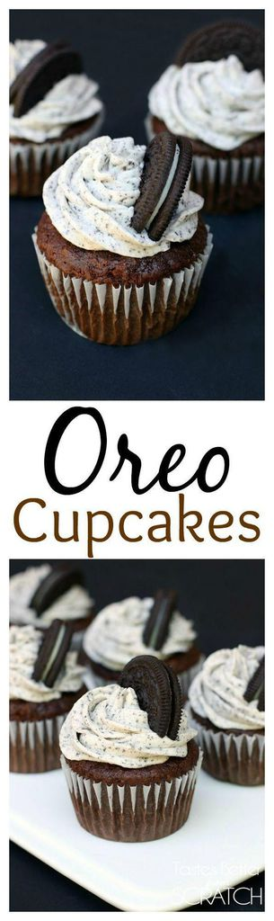 Fluffy and moist chocolate cupcakes with an Oreo bottom crust and perfect Oreo cream frosting.  | tastesbetterfromscratch.com
