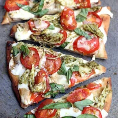 Pesto Chicken Caprese Flatbread