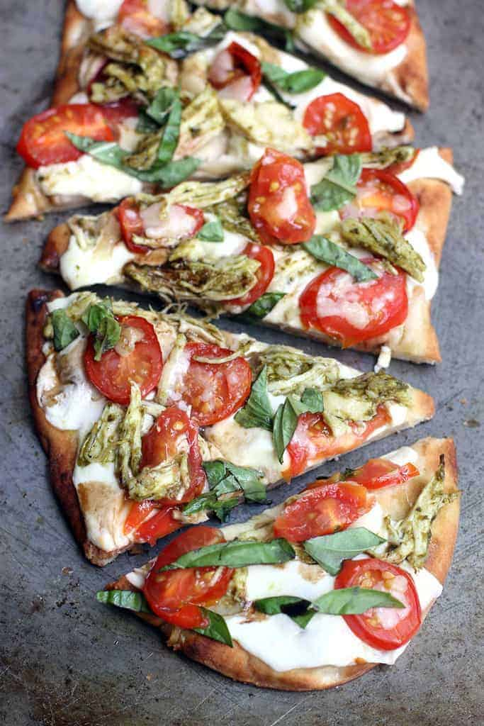 Chicken Pesto Caprese Flatbread on TastesBetterFromScratch.com