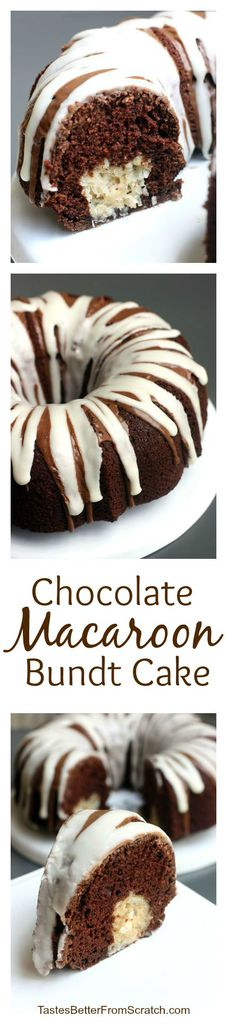 Chocolate macaroon bundt cake is filled with coconut macaroon filling and topped with a delicious chocolate and vanilla glaze!  | tastesbetterfromscratch.com