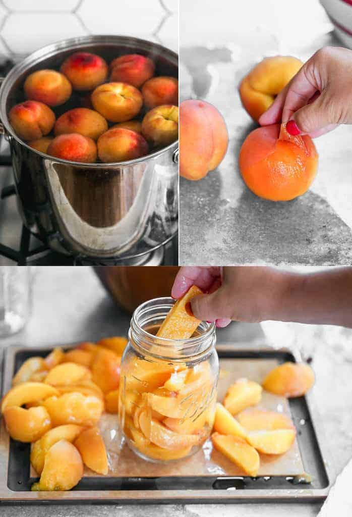 Three process photos for blanching peaches, peeling the skins, then slicing and adding to quart jars for canning.