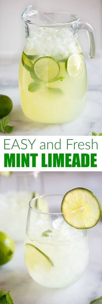A Homemade Sparkling Mint Limeade recipe with fresh squeezed limes and mint leaves. We love this cool and refreshing summer beverage! #limeade #mint #drink #summer #best #easy #fresh #fromscratch