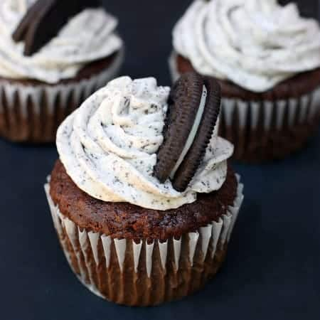 Chocolate Cupcakes with Oreo Cream Frosting