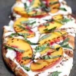 Peach, Basil, Mozzarella Flatbread with balsamic reduction. Recipe on TastesBetterFromScratch.com