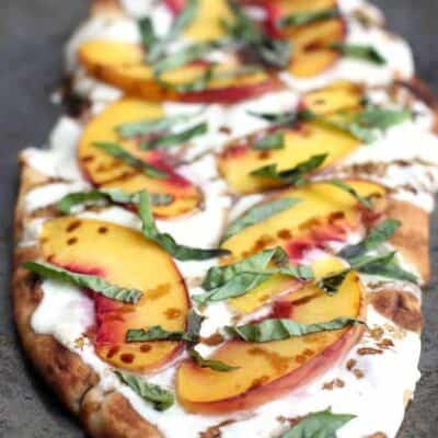 Peach, Basil, Mozzarella Flatbread