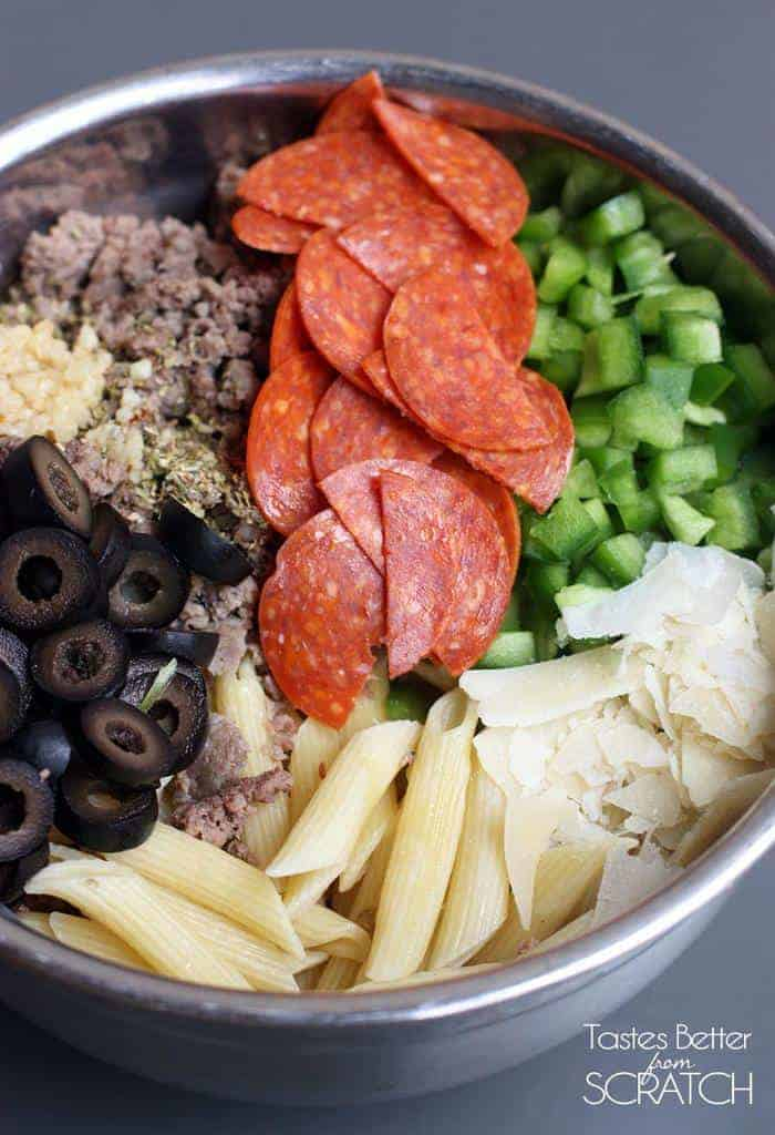 Pizza Casserole recipe on TastesBetterFromScratch.com