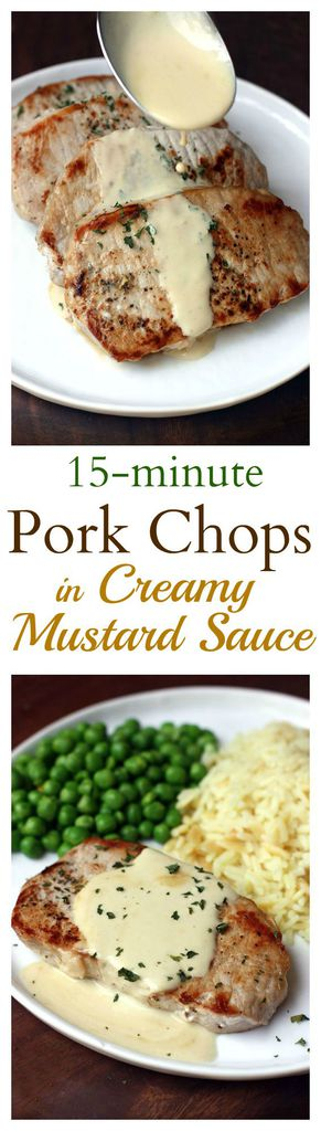 Pan-seared pork chops with a smooth, creamy mustard sauce. An easy dinner that takes just 15-minutes to make!  | tastesbetterfromscratch.com