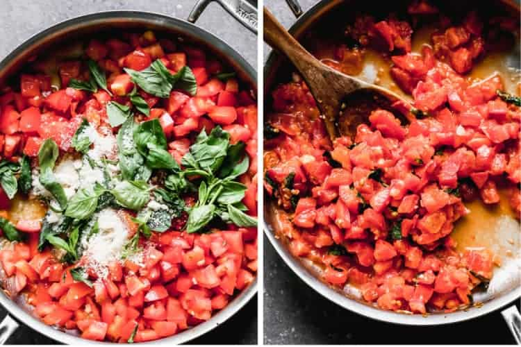 Two process photos for making tomato basil pasta in a skillet.