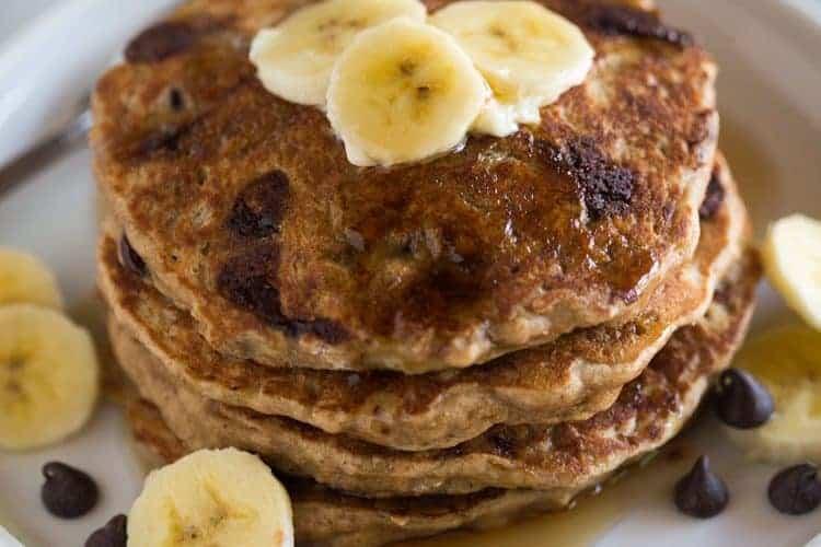 Whole Wheat Chocolate Chip Banana Bread Pancakes