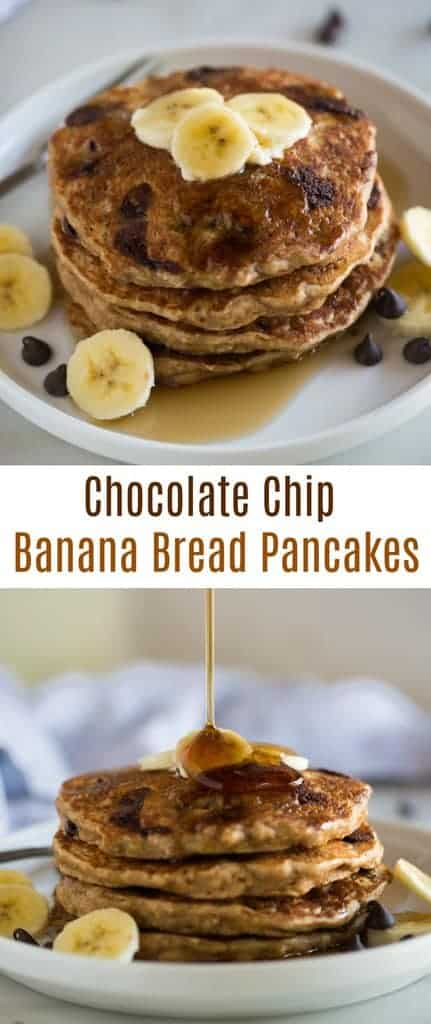 Whole Wheat Chocolate Chip Banana Bread Pancakes made with Greek yogurt, buttermilk, mashed banana and whole grains for extra fluffy and flavorful pancakes.  One of my favorite healthy (er) pancake recipes! #pancakes #breakfast #healthy #easy #bananas #bananabread #wholewheat
