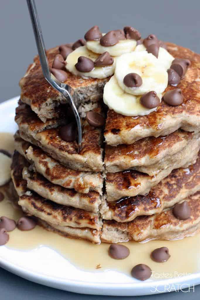 Whole Wheat Chocolate Chip Banana Bread Pancakes - Tastes ...