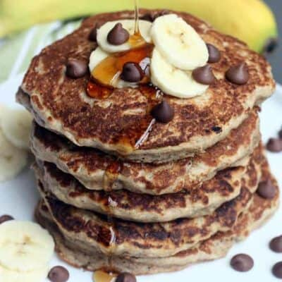 Whole Wheat Chocolate Chip Banana Bread Pancakes