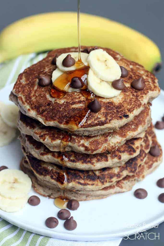 Whole Wheat Chocolate Chip Banana Bread Pancakes -- from Tastes Better ...