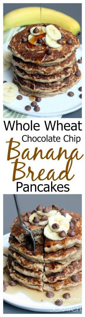 Whole Wheat Chocolate Chip Banana Bread Pancakes recipe from Tastes Better From Scratch