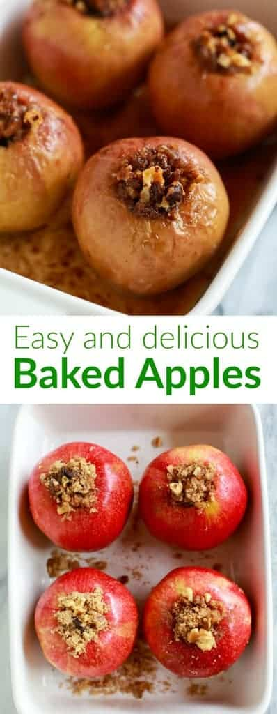 Baked Apples are a favorite healthy dessert, made with crisp fresh apples stuffed with a cinnamon sugar mixture and baked until tender. | tastesbetterfromscratch.com #bakedapples #apples #best #easy #healthy #dessert