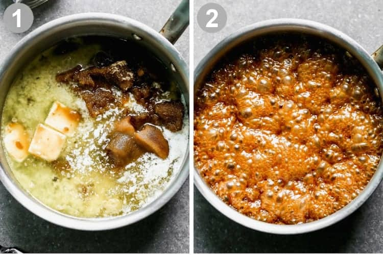 Two process photos for cooking caramel sauce in a saucepan.
