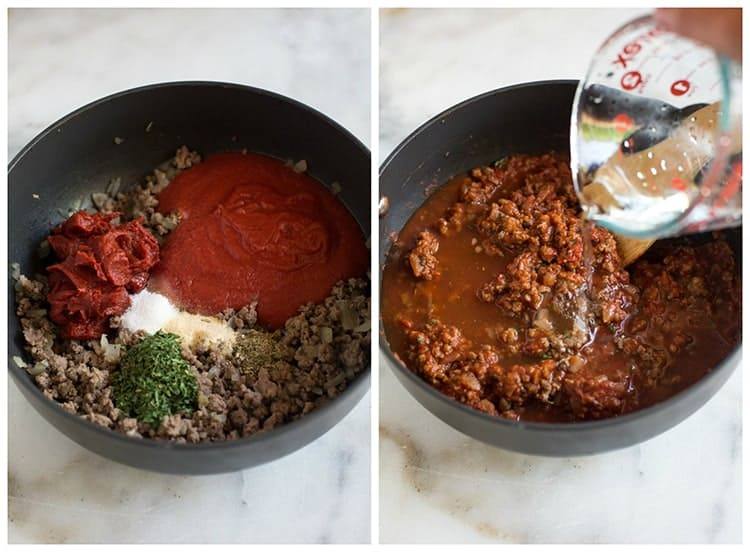 A saucepan with the ingredients to make homemade spaghetti sauce including tomato sauce, spices, ground beef, ground italian sausage, and onion, next to another photo of the sauce mixed together and water being added to it before it simmers.