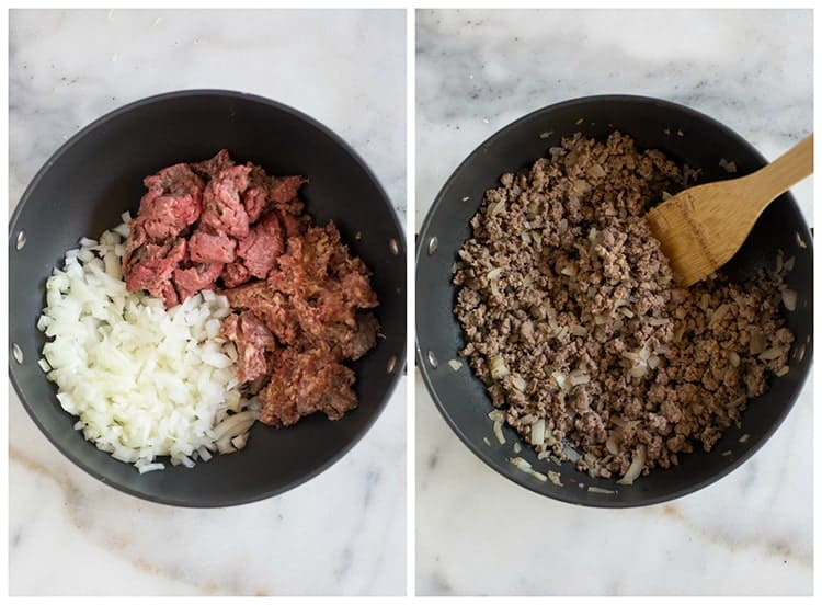 Side by side photos of a skillet with uncooked ground beef and onion, and then cooked and crumbled ground beef and onion.