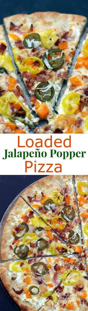 Loaded Jalapeño Popper Pizza recipe from TastesBetterFromScratch.com
