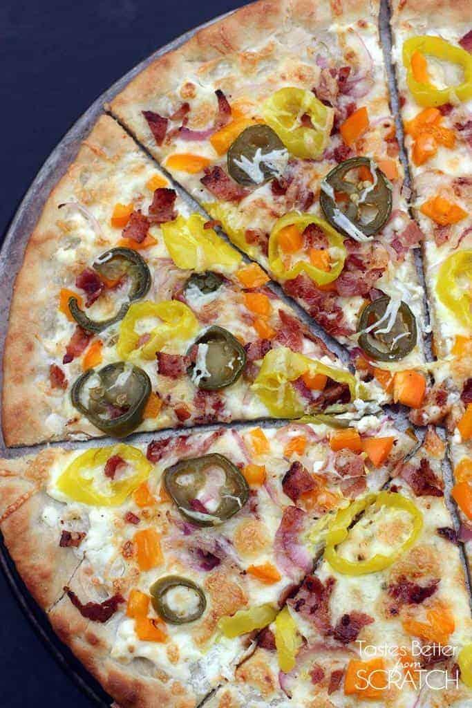 Loaded Jalapeño Popper Pizza recipe from TastesBetterFromScratch.com